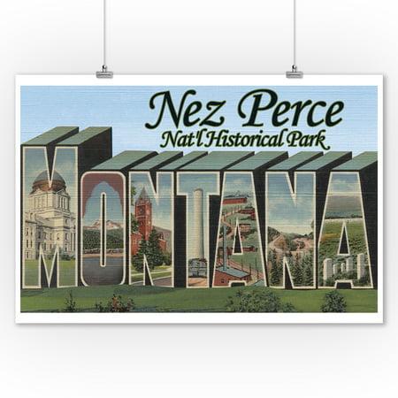 Nez Perce Nat'l Park, Montana - Large Letter Scenes (9x12 Art Print, Wall Decor Travel -