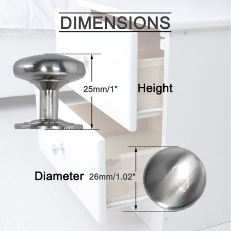 Zinc Alloy Knobs Round Drawer Handle Wardrobe Accessories 26mm, Silver Tone 5pcs - image 5 of 8