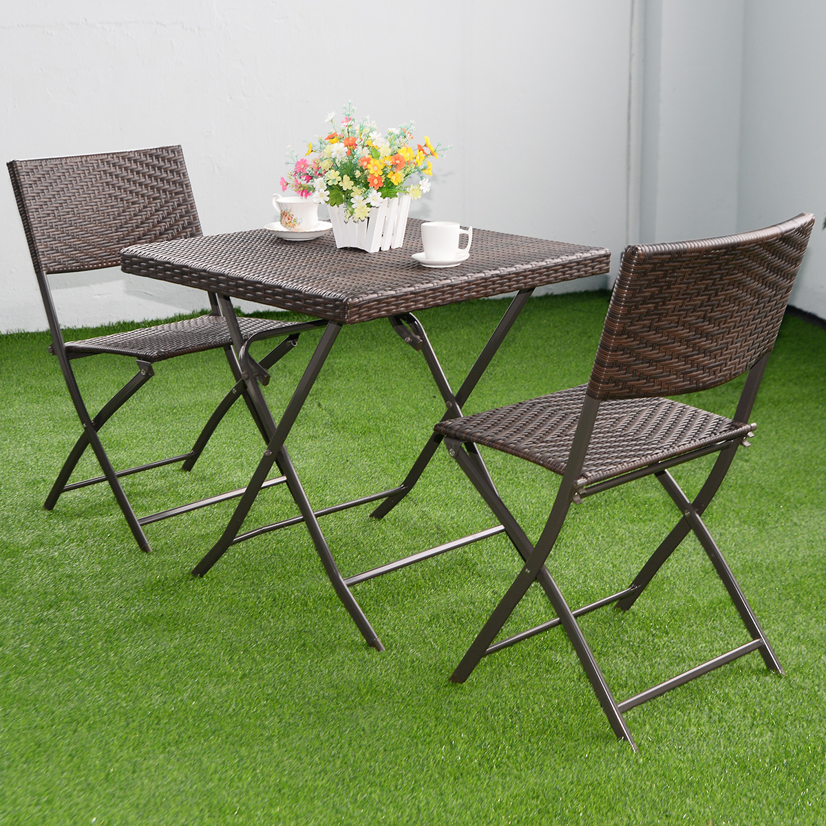 Costway Rattan Wicker 3 Piece Folding Outdoor Bistro Set Brown