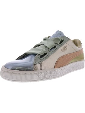Product Image Puma Women s Basket Heart Bauble Silver Ankle-High Leather  Fashion Sneaker - 9M 0b5ce647b