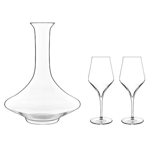 Luigi Bormioli Supremo Decanter 0.75 L with 2 Bordeaux Glasses Decanter with Bordeaux Glasses by Luigi Bormioli