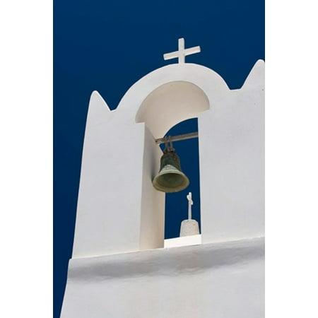 Church Bell Tower Against Dark Blue Sky Santorini Greece Poster Print By Jaynes Gallery