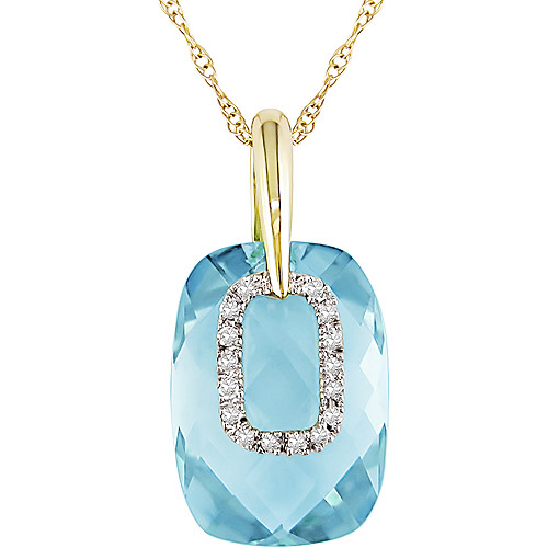"""8-1/2 Carat T.G.W. Blue Topaz and Diamond Accent 10kt Yellow Gold Pendant, 17"""""""