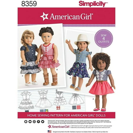 Simplicity American Girl Clothes Pattern, 1 Each American Girl Clothes Patterns