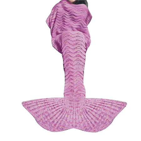 Knitted Mermaid Tail Blanket Crochet Knit Mermaid Blankets for Adults - All Season Soft Warm Throws and Blankets- Ariel Inspired Sleeping Bags for Kids Teens Mother's Day Gift - Wave Pink ()