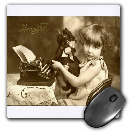 3dRose Print of photo Of Girl On Old Typewriter With Pet, Mouse Pad, 8 by 8 inches