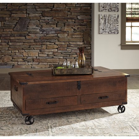 Ashley Furniture Norlandon Distressed Coffee Finish Cocktail Table With Storage