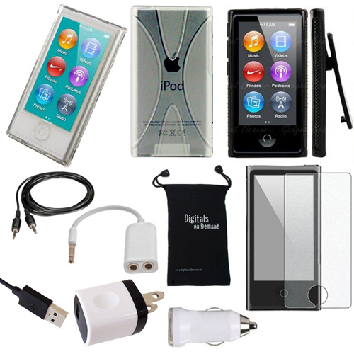 DigitalsOnDemand ® 11-Item Accessory Bundle Kit for Apple iPod Nano 7th Generation 16GB (Newest Model) - Slim Case Cover, Case with Clip, USB Cables + Chargers, Screen Protector