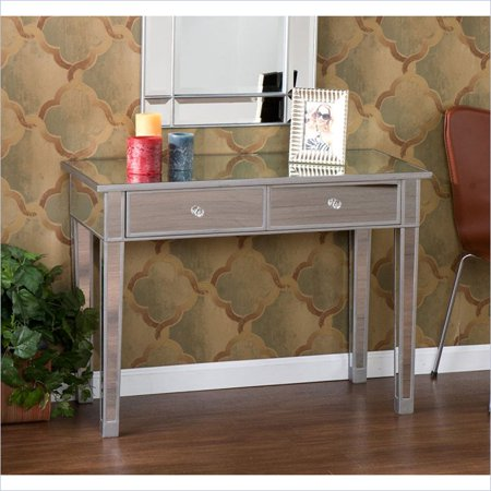 Holly   Martin Montrose Mirrored 2 Drawer Console Table In Painted Silver Wood Trim