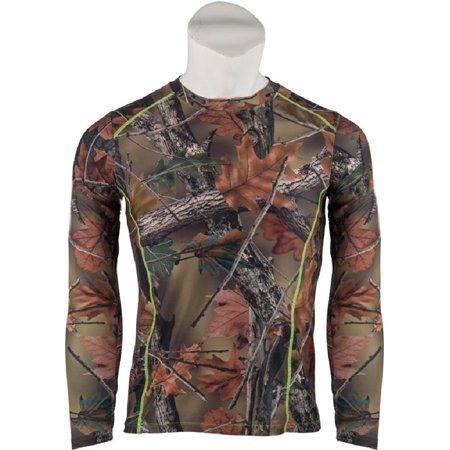 Women's X-Large Camo with Neon Green Stitching 4-Way Stretch Long Sleeve