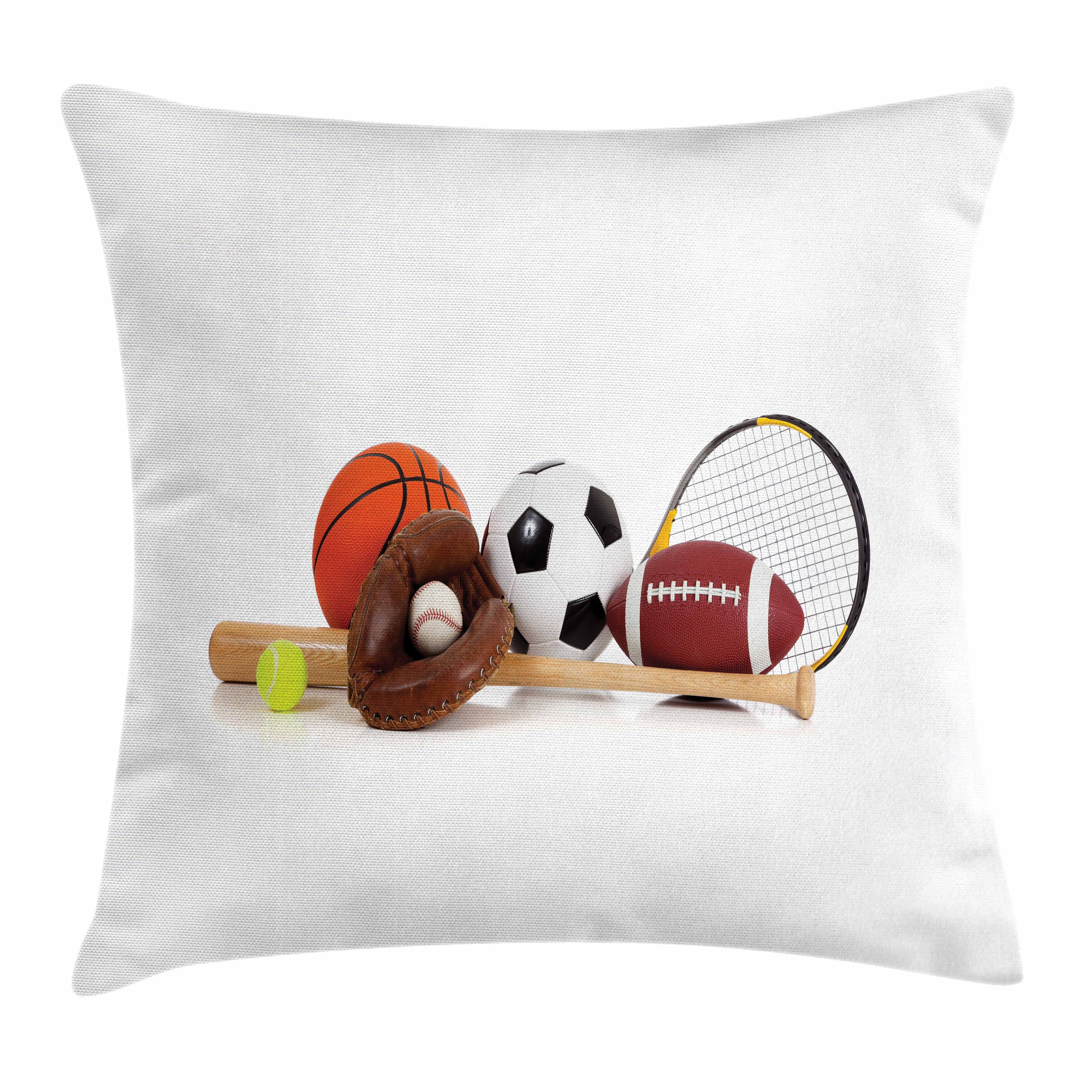 Youth Throw Pillow Cushion Cover, Assorted Sports Equipment Different Balls Bat Tennis Racket Baseball Glove on White, Decorative Square Accent Pillow Case, 16 X 16 Inches, Multicolor, by Ambesonne