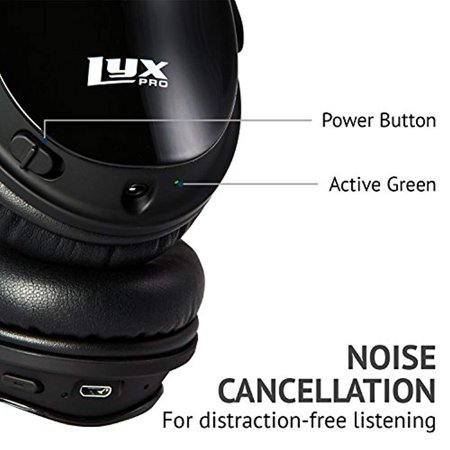 LyxPro HBNC-20 Noise Cancelling Bluetooth Headphones Wireless Comfort-Fit Headset w/Over Ear Cushioning, Volume Control & Micro USB Charging Cable,Black - image 6 of 9