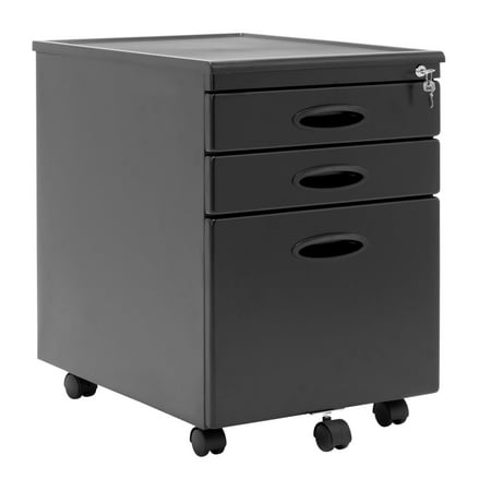 Calico Designs Home Office Furniture Storage 3 Drawer Mobile File Cabinet Black