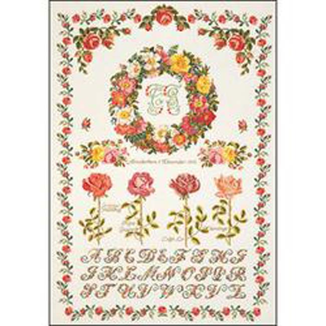 """Thea Gouverneur Counted Cross Stitch Kit 20.75""""X29.75""""-Rose Sampler On Aida (16 Count)"""