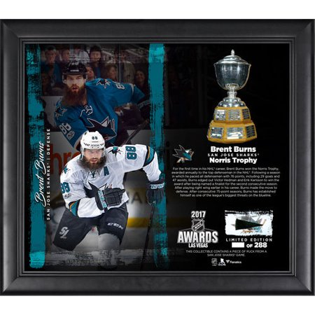Brent Burns San Jose Sharks Framed 15   X 17   2017 Norris Trophy Winner Collage With A Piece Of Game Used Puck   Limited Edition Of 288   No Size