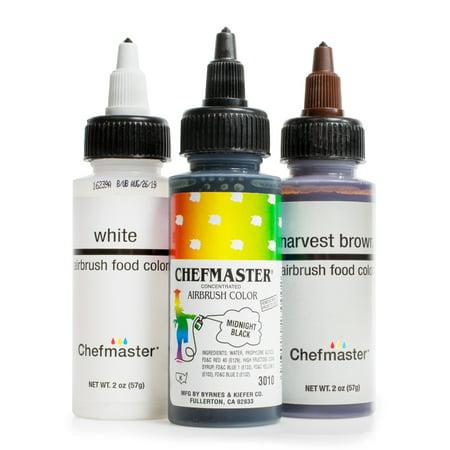 Chefmaster Cake Decorating Food Coloring Airbrush Paint Set - 3 Basic  Colors 2oz