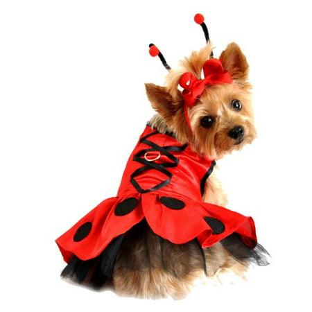 Ladybug Fairy Dress Dog Costume Harness Dress with Antennae and Leash, X-Small