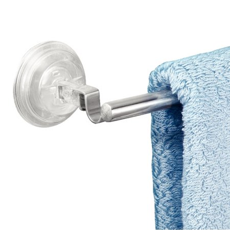 InterDesign Reo Power Lock Suction Towel Bar for Bathroom, Stainless (Iso Towel Bar)
