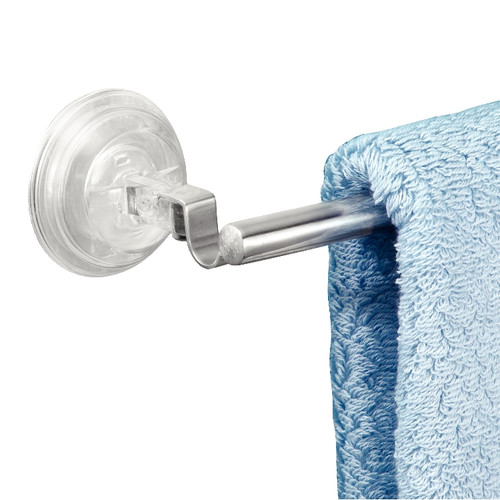 InterDesign Reo Power Lock Suction Towel Bar for Bathroom, Stainless Steel