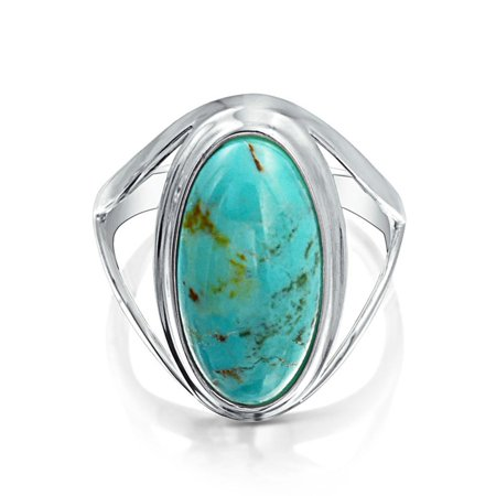 Native American Style Large Oval Boho Statement Enhanced  Turquoise Ring For Women Split Band 925 Sterling (Split Rings Sterling Silver Charm)