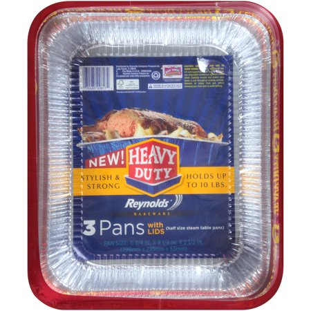 Reynolds Bakeware Heavy Duty Aluminum Pans with Lids, 12x9 Inch, 3 Count