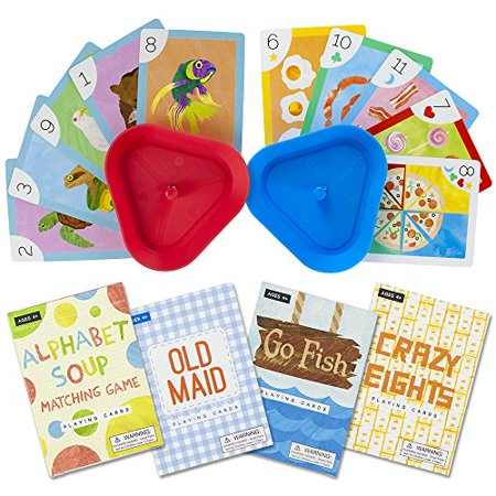 Set of 4 Classic Childrens Card Games with 2 Hands-Free Playing Card Holders by Imagination Generat Multi-Colored - Children's Games For Halloween Printables