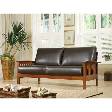Mission Oak Faux Leather Sofa, Dark Brown
