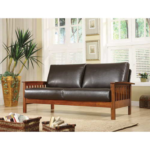 Mission Oak Faux Leather Sofa, Dark Brown Part 39
