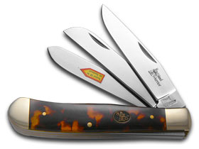 STEEL WARRIOR Turtle Shell Celluloid Triple Blade Trapper Stainless Pocket Knife Knives by Steel Warrior