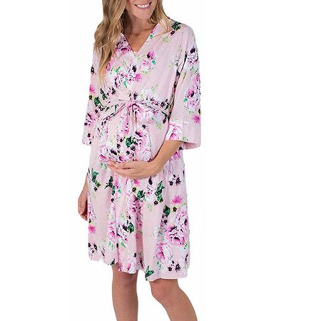 Women's Maternity Hospital Kimono Gown Pregnant Ladies Floral Sleepwear Pajama Maternity Robe Nightwear Dress Pink S