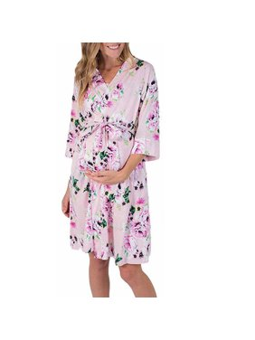 Product Image Women s Maternity Hospital Kimono Gown Pregnant Ladies Floral Sleepwear  Pajama Maternity Robe Nightwear Dress Pink S 55e46af7b