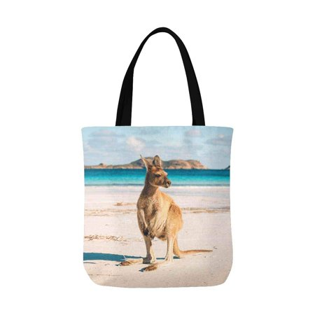 ASHLEIGH Kangaroo on Western Australia Beach Unisex Canvas Tote Canvas Shoulder Bag Resuable Grocery Bags Shopping Bags for Women Men Kids ()