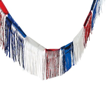 Fun Express - Foil Patriotic Fringe - 24 for Fourth of July - Party Decor - Hanging Decor - Misc Hanging Decor - Fourth of July - 1 Piece