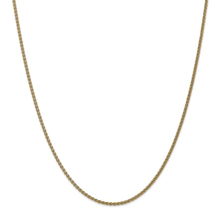 - 14k Yellow Gold 1mm Solid Spiga Chain Necklace 16 Inch Pendant Charm Wheat Gifts For Women For Her