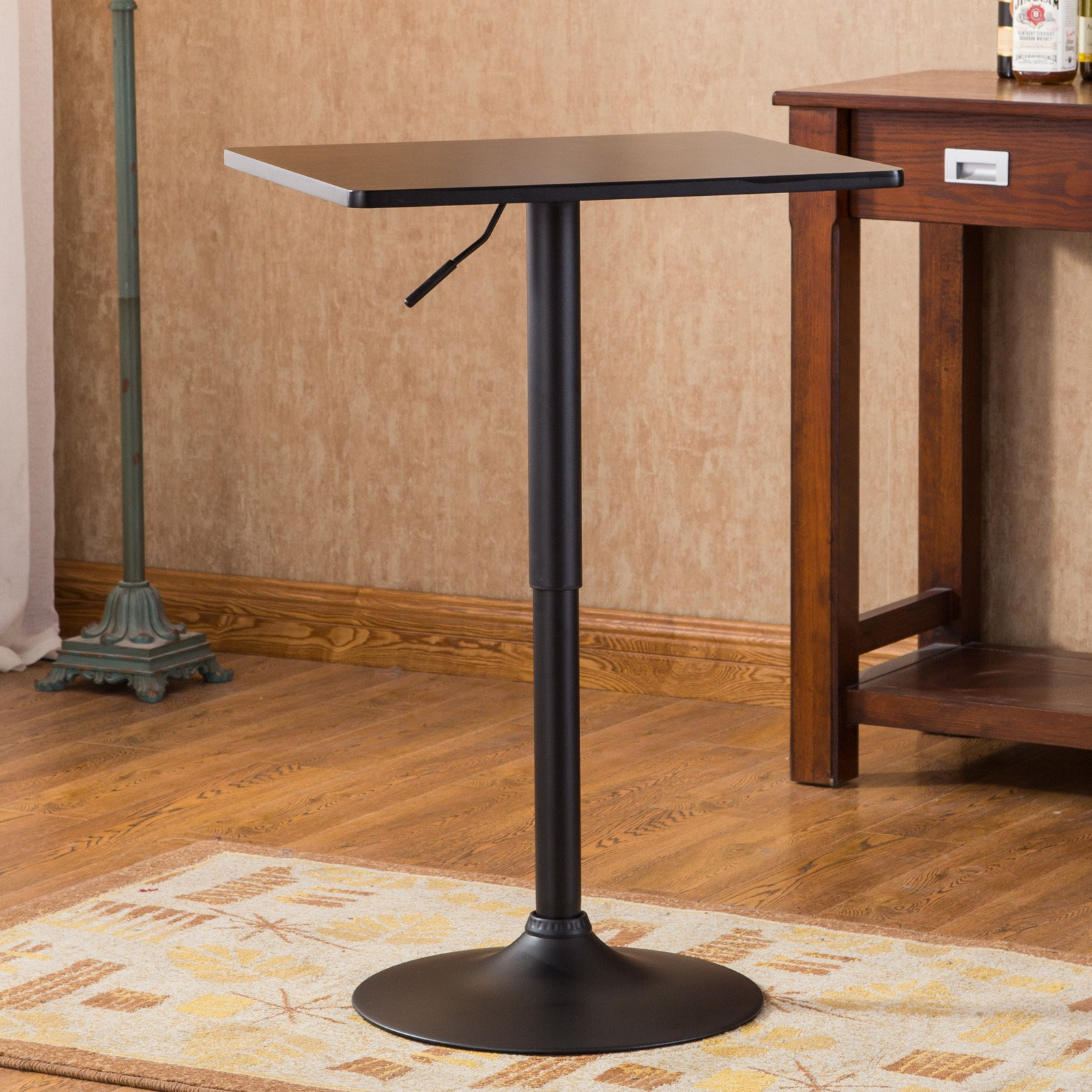 Roundhill Furniture Belham Square Top Adjustable Height with Black Leg and Base Metal Bar Table