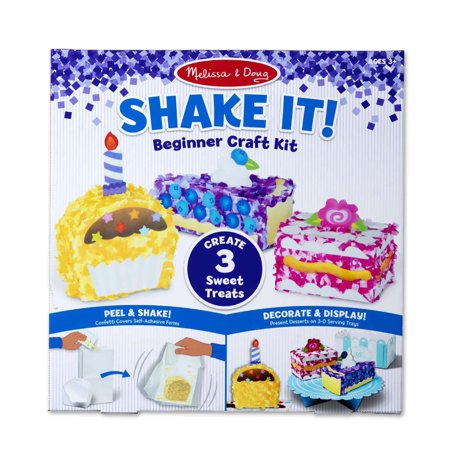 "Melissa & Doug Shake It! Deluxe Sweet Treats Beginner Craft Kit - Confetti-Covered Cake, Pie, Cupcake (1.5"" to 3.25"" Each)"