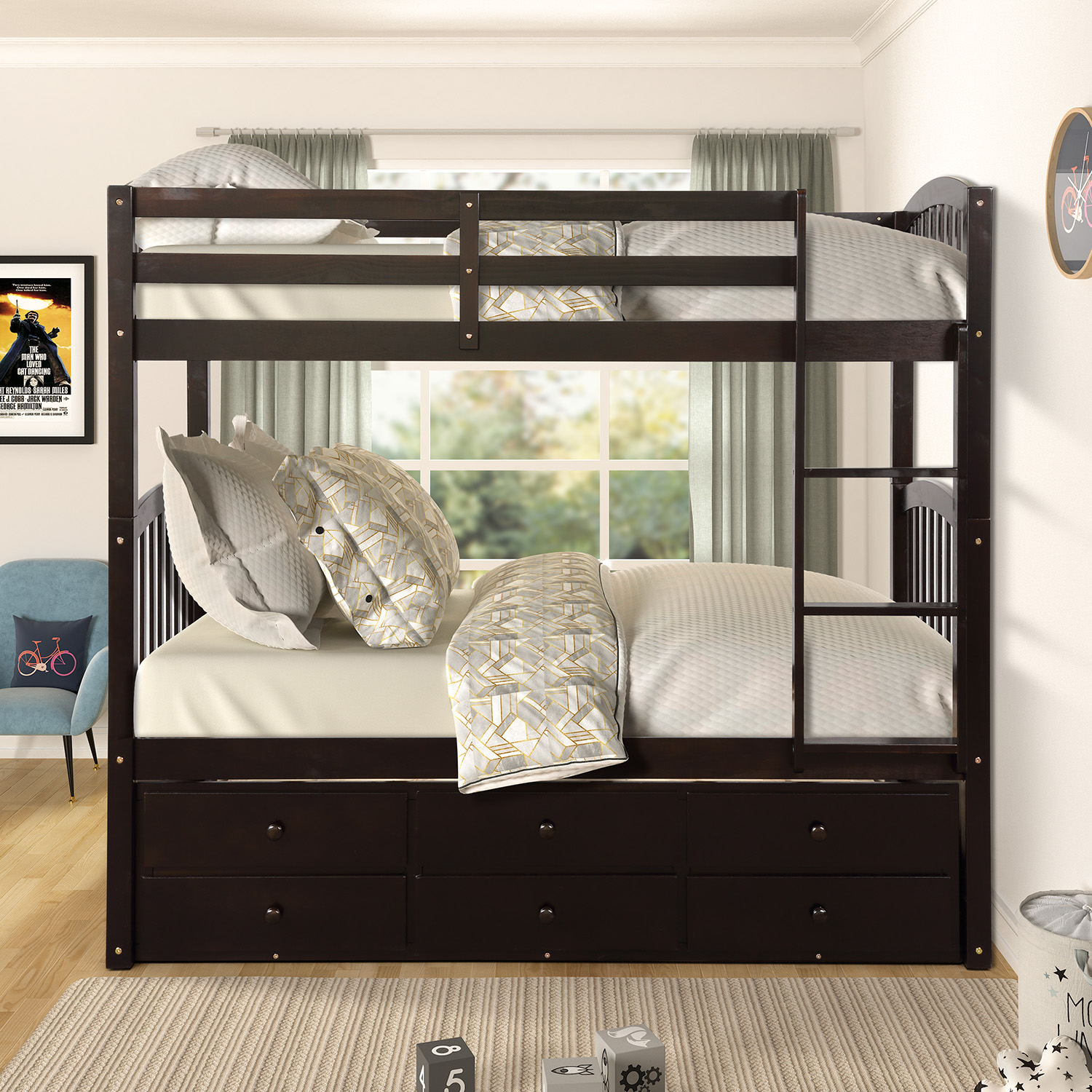 Twin Trundle Bunk Bed With 3 Storage Drawers Modern Twin Bunk Bed With Ladder And Safety Rail Twin Over Twin Bunk Bed Frame For Kids Teens Bedroom Bunk Bed Frame Twin Over