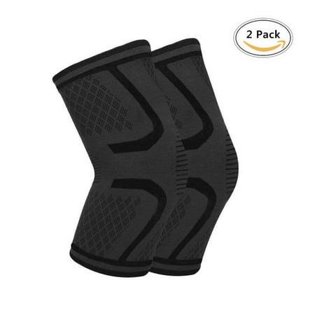 41ebff1105 2 pack Athletic Exercise Black Sleeve Stretch Band Protective Knee Support,  GVDV Unisex Elastic Breathable Knee Brace - Walmart.com