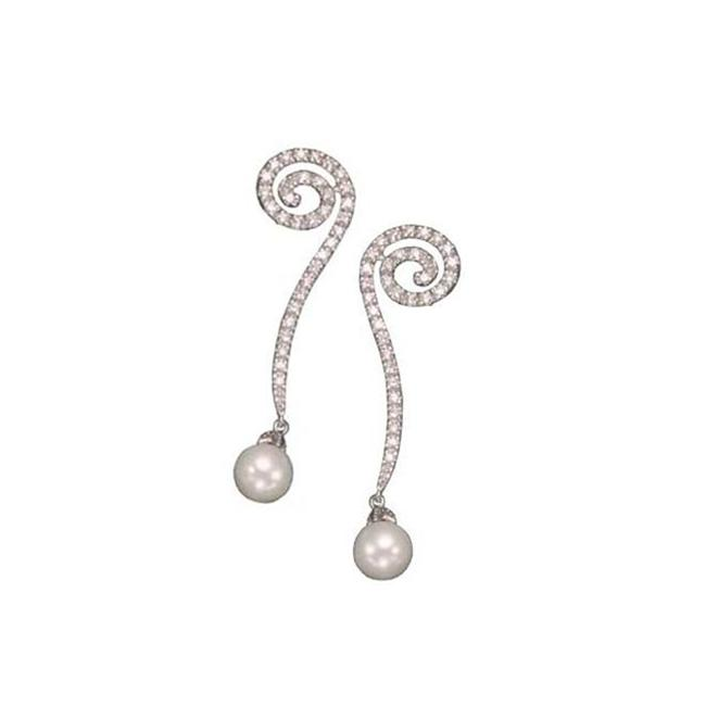 CZ EAR907 C. Z.  AND PEARL LONG RHODIUM PLATED - . 925 - STERLING SILVER EARRINGS