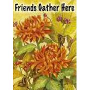 """Friends Gather Here Fall Floral Decorative Large House Flag 28"""" x 40"""""""