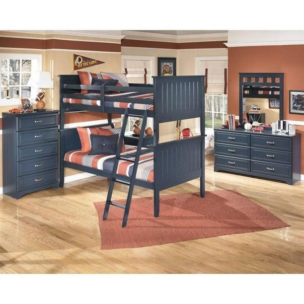 Ashley Leo 5 Piece Wood Twin Bunk Bed Set In Blue Walmart Com Walmart Com