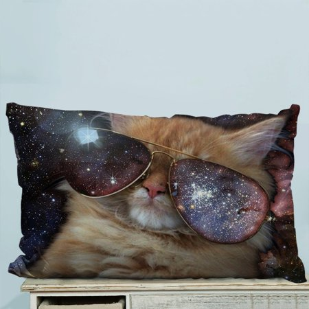 GCKG Funny design Star Galaxy Outer Space Cool Sunglass Cat Pillow Case Pillow Cover Pillow Protector Two Sides 20 x 30 (Cat Space Glasses)