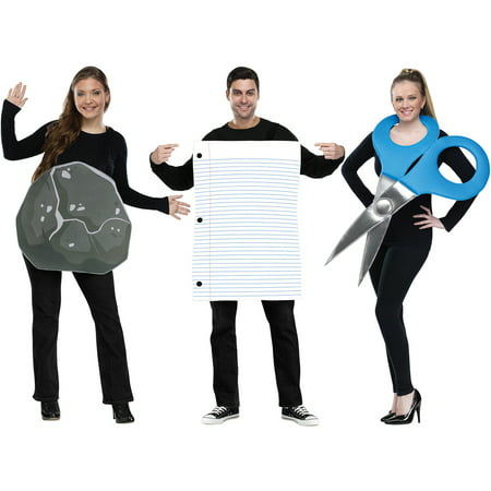 Rock Paper Scissors Adult Halloween Costume - Funny Last Minute Couples Halloween Costumes