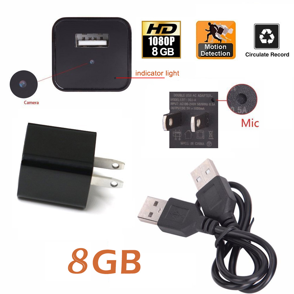 NEW 8GB Motion Detection Hidden Spy Camera Real USB AC Adapter Wall Plug Charger Camcorder DV Surveillance HD 1080P Hidden Spy Wall Camera Video Recorder Loop Record For Home Security Nanny Spy Camera