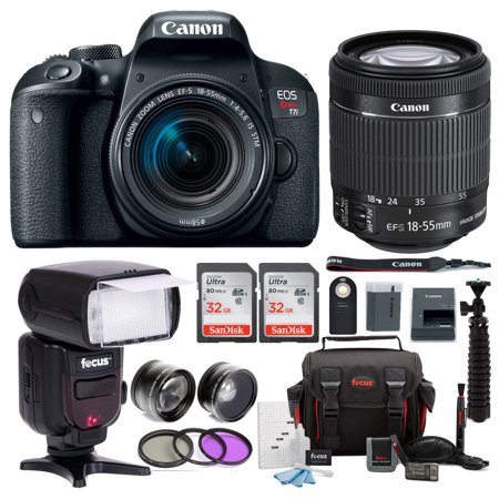 Canon Rebel T7i DSLR Camera with 18-55mm Lens and TTL Swivel Flash Bundle