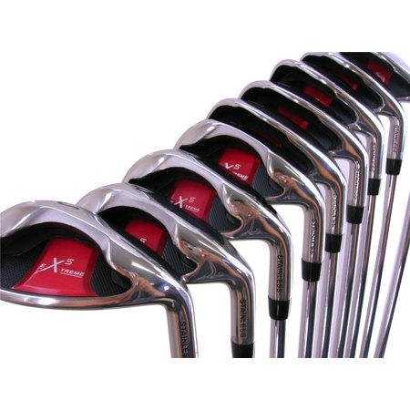 Extreme X5 Wide Sole iBRID Iron Set +2 inch Over XL Big & Tall Senior Men's Complete 8-Piece Iron Set (4-SW) Right Handed Senior A Flex Club (Tall 6'3