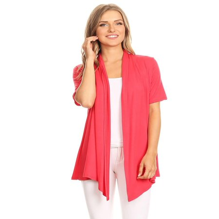 NEW MOA Women's Casual Basic Short Sleeves Open Front Draped Solid Cardigan/Made in USA Draped Open Back Cocktail