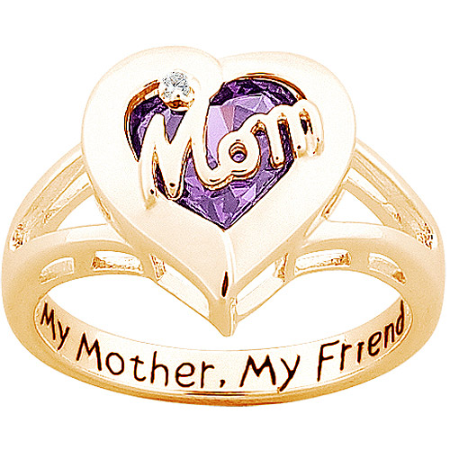 "Personalized Sterling Silver with 18K Gold Overlay ""Mom"" Ring with Birthstone Heart and Diamond Accent"