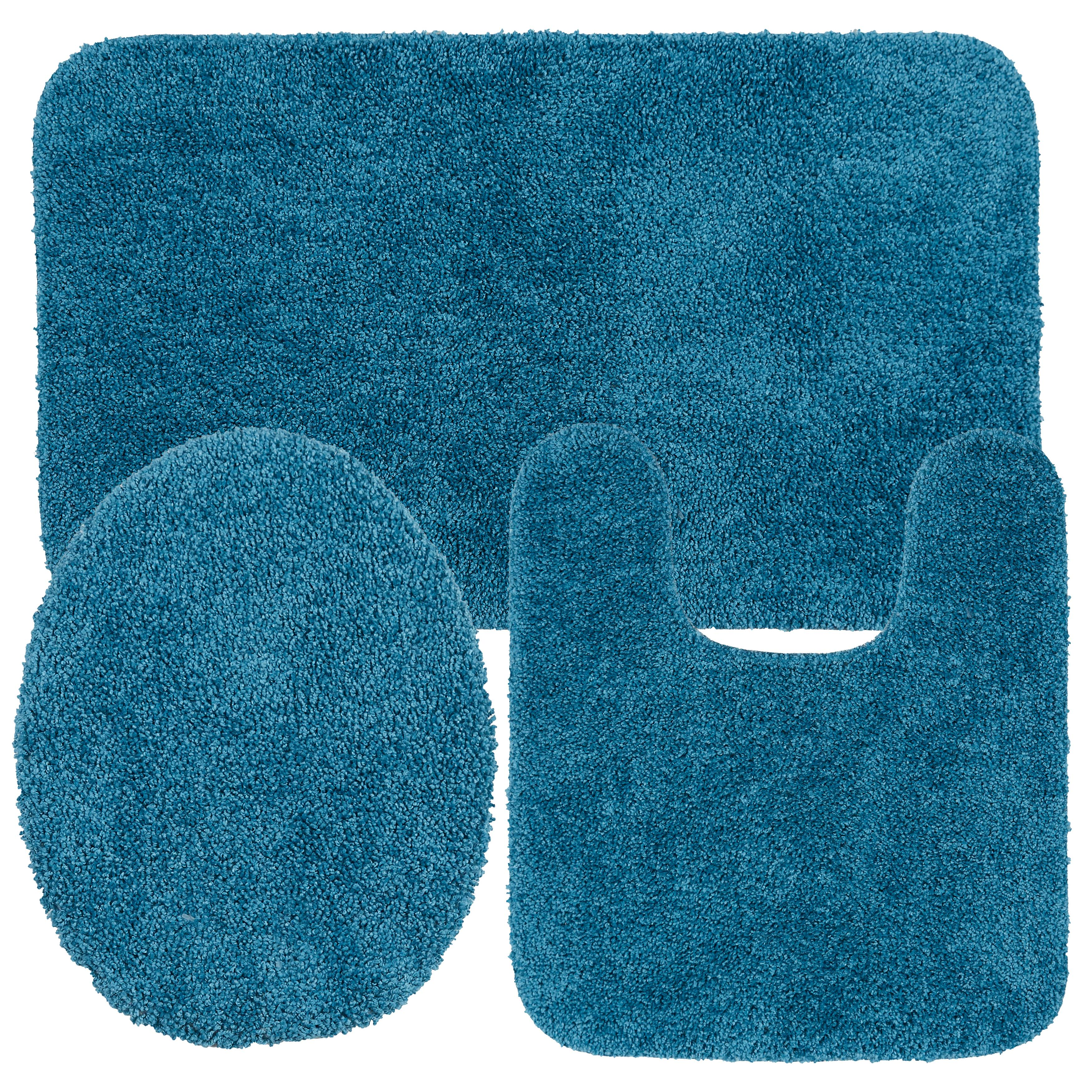 Cute Sky Blue Light Teal Gray Moroccan Ogee Art Absorbent Memory Foam Soft Shower Bath Rugs Contour Mat And Lid Cover,Non Slip Velvet Bathrug,Shower Toilet Bathmats Carpet Yilooom 3 Pack Bath Mat Set