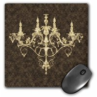 3dRose Chandelier Gold Damask , Mouse Pad, 8 by 8 inches